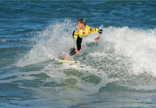 Satellite Beach's Logan Radd competes on opening day of the Toyota USA Prime Surfing event at Sebastian Inlet on Saturday.