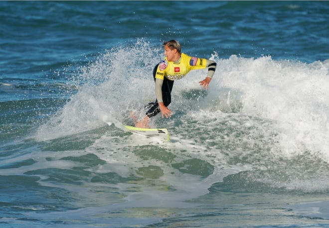 Satellite Beach's Logan Radd competes on opening day of the Toyota USA Prime Surfing event at Sebastian Inlet in January 2020.