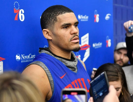 Tobias Harris speaks to the media after practice at the Philadelphia 76ers Training Complex in Camden, N.J. Monday, Jan. 27, 2020.