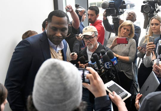Elton Brand speaks to the media after practice at the Philadelphia 76ers Training Complex in Camden, N.J. Monday, Jan. 27, 2020.