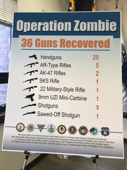 A poster shows the weapons recovered in an alleged cross-state gun trafficking bust.