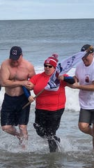 Mount Saint Mary Academy's participation in polar plunge yielded over $15,000; Directress, Sister Lisa D. Gambacorto, RSM, Ed.S. took the plunge.