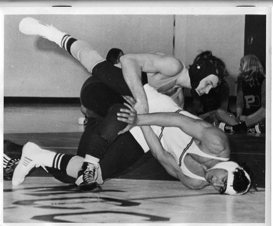 Jay Stuart wrestling for Piscataway in the 1970s