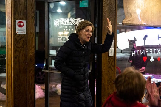 U.S. Sen. Elizabeth Warren, D-Mass., meets with a group of volunteer leaders at Lucky's on 16th on Sunday, Jan. 26, 2020, after a town hall in Cedar Rapids.