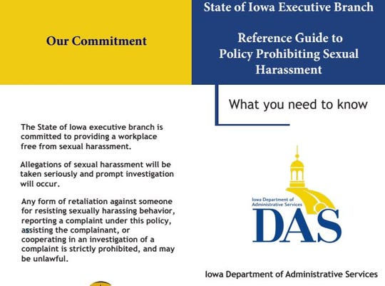 Iowa enacted emergency rules related to anti-sexual harassment policies in October 2018 following multiple lawsuits. This is part of a brochure the state published in 2019 and provided to employees about complaint procedures and their responsibilities.