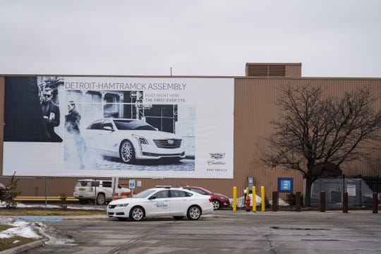 A sign for the General Motors Detroit-Hamtramck Assembly plant is seen on Monday, January 27, 2020.