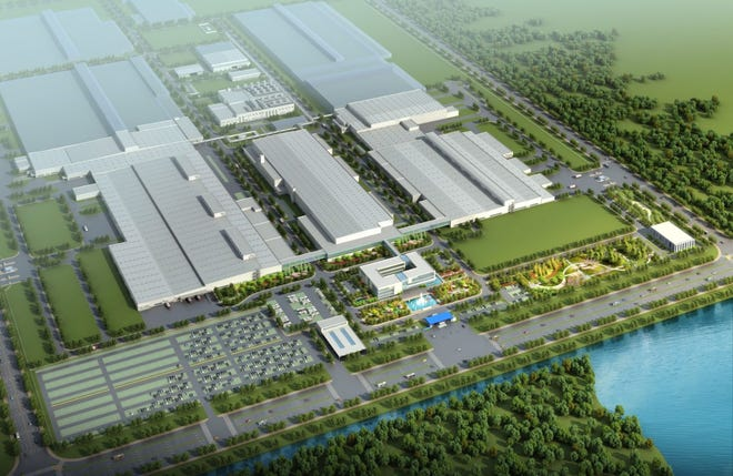 An aerial view of the SAIC-GM Wuhan Branch