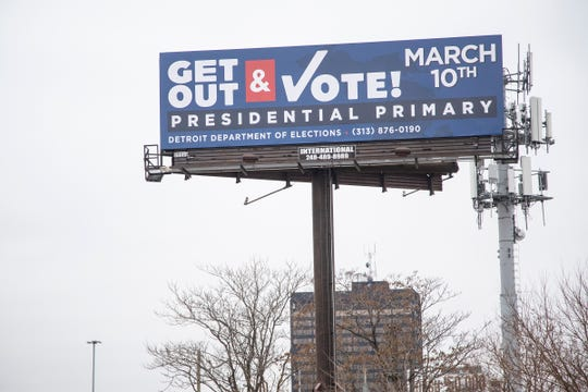A Get Out and Vote sign near M-10 and Labrosse Street in Detroit, Monday, Jan. 27, 2020.