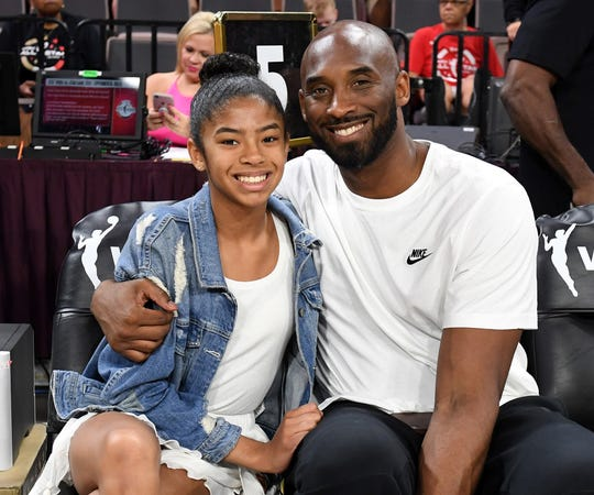 Kobe Bryant and his daughter, Gianna, were among nine killed in a helicopter crash in Calabasa, Calif. on Jan. 26, 2020. Kobe was 41; Gianna was 13.