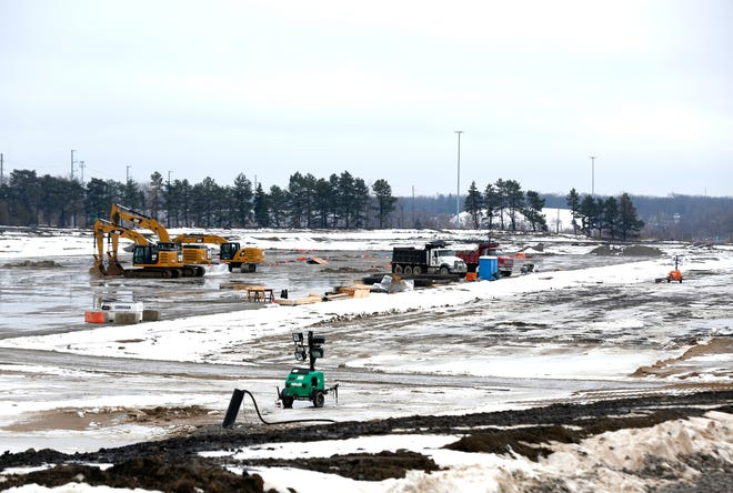 Ongoing construction activity on Saturday, January 25, 2020 at the old Pontiac Silverdome site which will become an Amazon distribution and fulfillment center.
