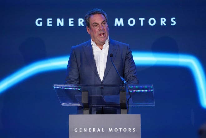 General Motors President Mark Reuss speaks during an announcement of GM's $2.2 billion investment in Detroit-Hamtramck assembly plant on being 100 percent devoted to electric vehicles Monday, January 27th, 2020.