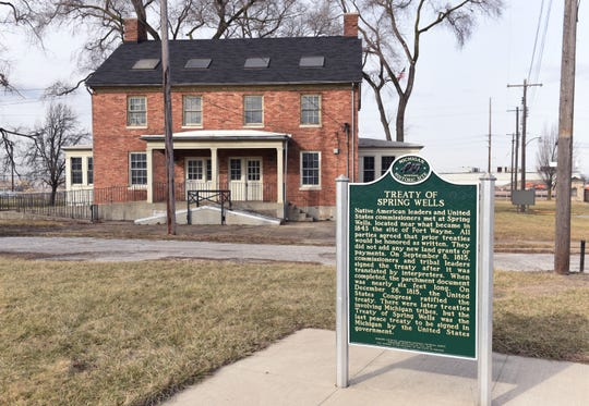 A historical marker educates visitors about the Treaty of Spring Wells site, that would later become Fort Wayne.