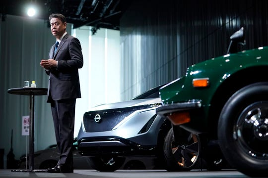 New Nissan CEO Makoto Uchida speaks at his inaugural press conference.