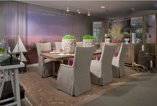 Interior designer Terry Ellis created this vignette to depict a girls' reunion in the dunes area of upper Michigan. She captured the elaborate color palette seen in the dramatic sunsets with a wall mural accented by textured sheers.