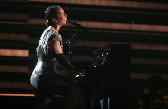 Host Alicia Keys performs on Sunday, Jan. 26, 2020.