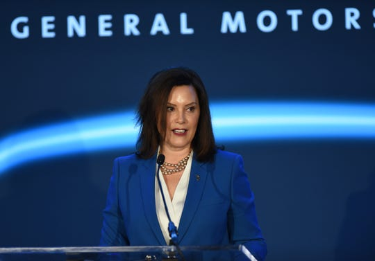 Gov. Gretchen Whitmer gives her remarks about GM's first assembly plant that is 100% devoted to electric vehicles.