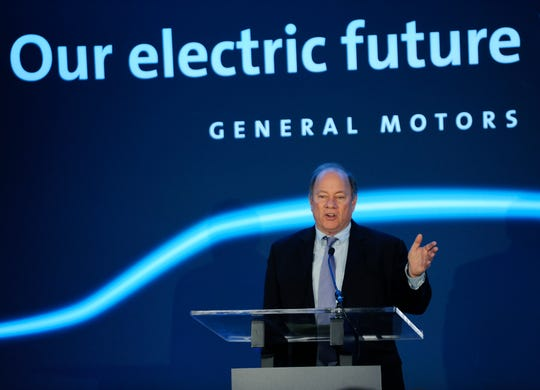 Mayor Mike Duggan gives his remarks about GM's  $2.2 billion investment at its Detroit-Hamtramck assembly plant to produce electric vehicles.