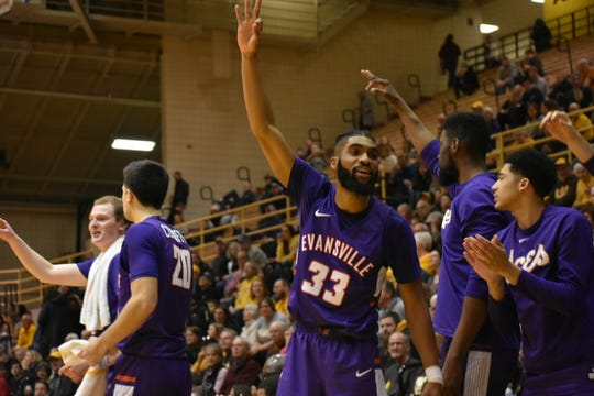 KJ Riley reacts to one of the Aces' nine made 3-pointers on Sunday.