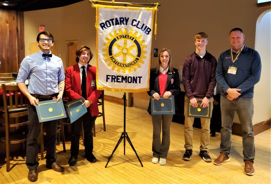 Fremont Rotary Students of the Month are left to right Johnathon Dull, Jacob Wylykanowitz, Ella Jay and Ben Gedeon. To the right is Rotary Club President Roger Kuns.