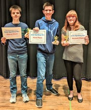 Port Clinton Middle School Spelling Bee Winners are , left to right, third place Carson Miller; first place and 2019 Ottawa County Champion, Bryce James; and second place, Sarah Borton.