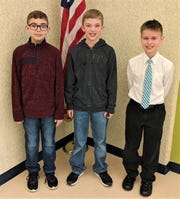 Bataan Memorial Intermediate Spelling Bee Winners are, left to right, third place, Liam Coppeler;  first place, Trevor James; and second place, Gabe Depner.