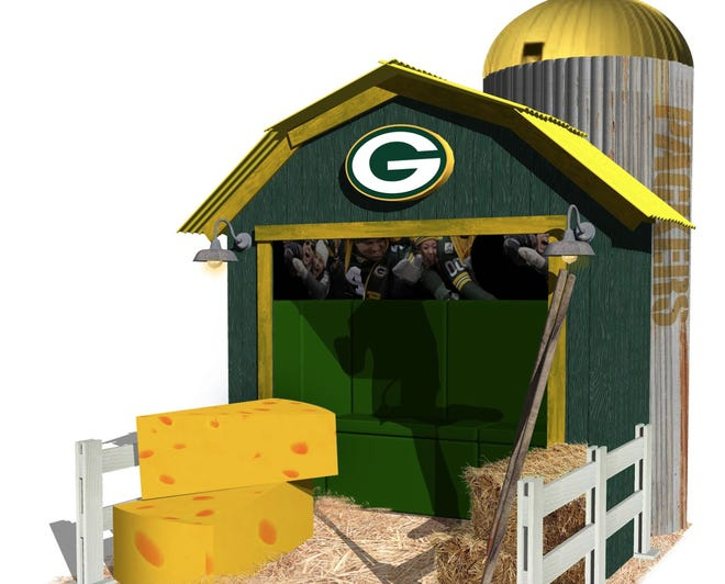 """Lowe's built dwellings representing all 32 NFL teams for its Lowe's Hometown display at Super Bowl LIV in Miami. The Green Bay structure is called  """"Packer Pastures."""""""
