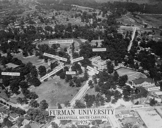 This aerial view of the Furman University campus shows the placement of its buildings. The botanical gardens developed in the 1930s can be glimpsed at the rear.