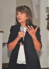 Jacqueline A. Maratita, Bank of Guam executive at memorial for University of Guam's 5th president, Jose Q. Cruz, J Mangilao, Guam, an. 27, 2020.