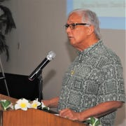 Dr. Robert Underwood, 10th president of the University of Guam at memorial for former President Jose Q. Cruz, Mangillao, Guam, Jan. 27, 2020.