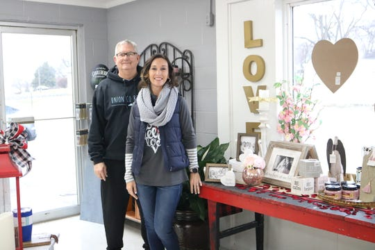 Owner Tiffany Jackson (right), Floral Manager Anthony Harris (left), and Retail Manager Shelly Girten (not pictured) are ready to serve the needs of the community with their new shop, A New Leaf, in downtown Morganfield, KY.