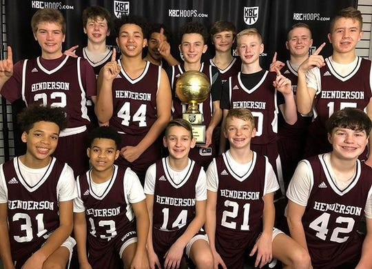 South Middle School's seventh-grade boys basketball team won the championship of the Kentucky Basketball Commission's seventh-grade state tournament Sunday in Lexington. Team members are, front row from left, CJ Plummer, Zyrian Carter, Cameron Vick, Faurest Crafton, Grayson Townsend, back row, Gavin Herndon, Lacon McKinney, Xavier Johnson, Trajdon Davis, Dwaine Moss, Rex Blue, Cole Branson, Cooper Vowels and Cooper Davenport.