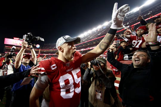 George Kittle, shown celebrating the 49ers' NFC Championship Game win, is not only a star in San Francisco but the entire NFL after being a fifth-round draft pick from Iowa in 2017.