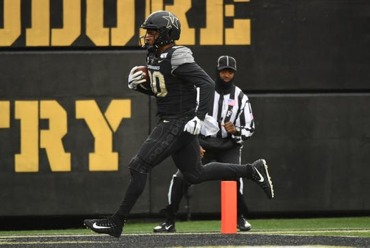 Nov 23, 2019; Nashville, TN, USA; Vanderbilt Commodores tight end Jared Pinkney (80) scores a touchdown during the first half against the East Tennessee State Buccaneers at Vanderbilt Stadium. Mandatory Credit: Christopher Hanewinckel-USA TODAY Sports