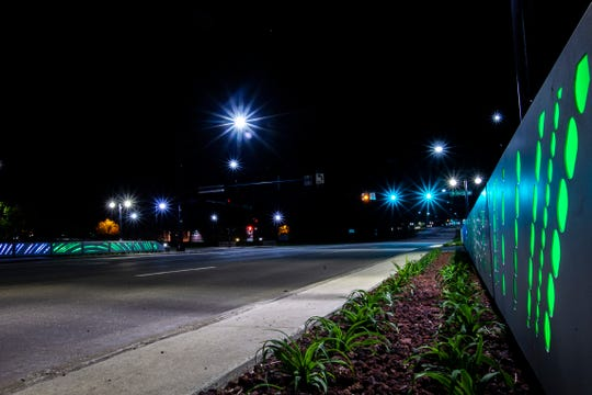 Bridge lights are illuminated, Thursday, May 23, 2019, along Highway 965 near Cherry Street in North Liberty, Iowa.