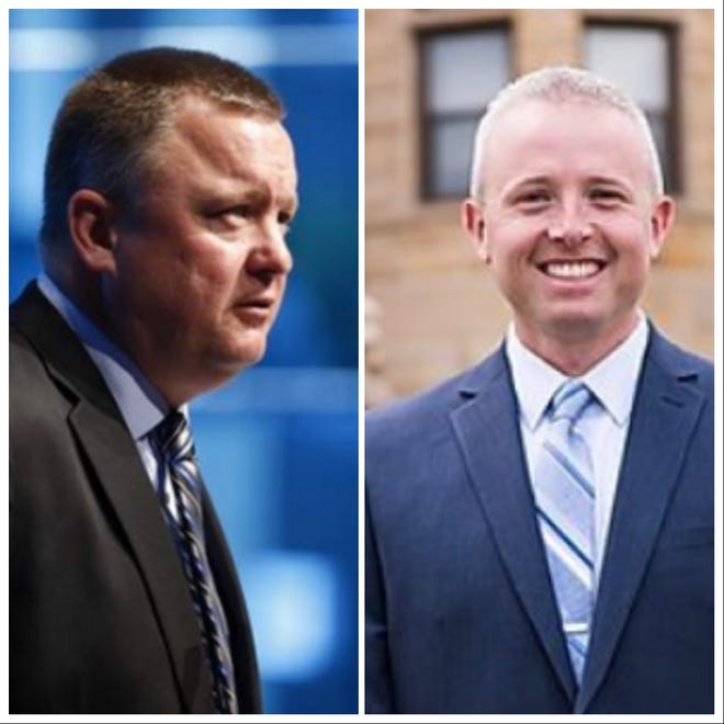 Cedar Rapids Police Sgt. Al Fear, left, and Johnson County Sheriff Det. Sgt. Brad Kunkel have announced they're running for Johnson County Sheriff in the 2020 election.