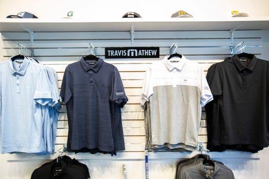 Merchandise is displayed, Saturday, Jan. 25, 2020, at Golfletics in Coralville, Iowa.