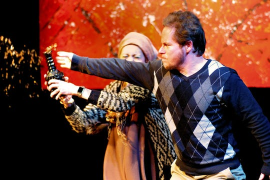 """Production images of ICCT's 2020 production of """"Gods of Carnage."""""""