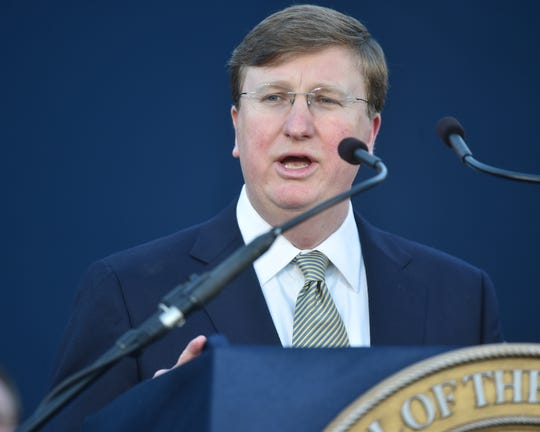 Gov. Tate Reeves delivers his first State of the State Address on the steps of the Capitol in Jackson, Mississippi. Monday, Jan. 27, 2020.