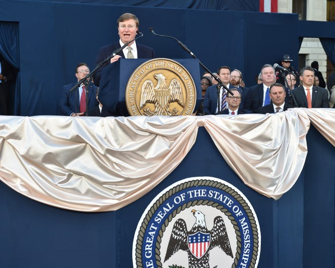 Miss. Governor Tate Reeves delivers his first State-of-the-State Address on the steps of the Capitol in Jackson, Mississippi. Monday, Jan. 27, 2020.