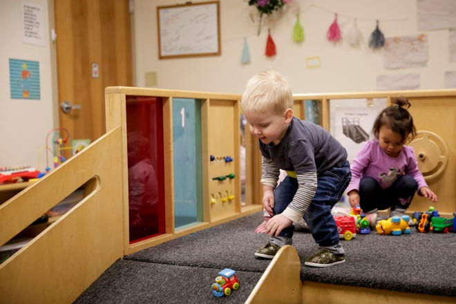 A young boy plays with a toy train inside the Creasy Right Steps Child Development Center, Monday, Jan. 27, 2020 in Lafayette.