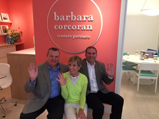 """Patrick Taylor, left, and Robert Page meet with """"Shark Tank"""" star Barbara Corcoran for business advice in 2015."""
