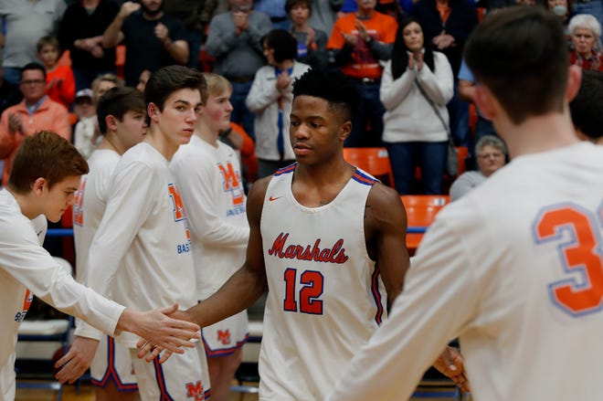 Marshall County's Zion Harmon during team introductions before their game against Crawford County on Jan. 24, 2020.