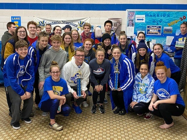 Ontario swept the boys and girls titles at its annual swim invitational on Saturday.