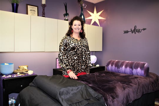 Shelly McCombs is the owner of two local businesses, Shelly's Fierce Fitness and Shelly's Touch of Tranquility. She operates her fitness service out of her home. Shelly's Touch of Tranquility is located on the second floor of the office building at 107 N. Main St. in downtown Marion.
