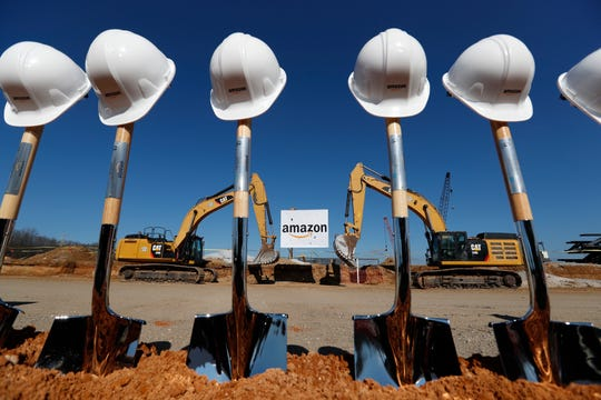 Shovels and hard hats stand ready for the groundbreaking of the new Amazon facility in Raleigh on Monday, Jan. 27, 2020.