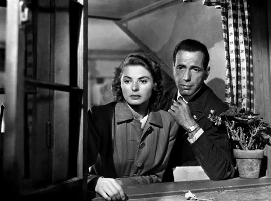"""They'll always have Paris: Ingrid Bergman and Humphrey Bogart star in the classic """"Casablanca,"""" which screens Friday night at the giant screen at the Memphis Pink Palace Museum."""