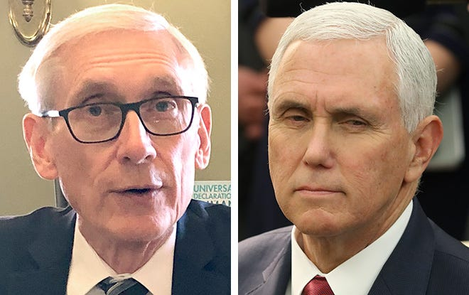 Gov. Tony Evers, left, and Vice President Mike Pence, right