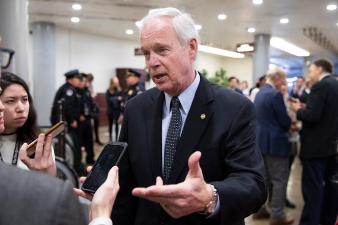 Republican senator from Wisconsin Ron Johnson speaks to members of the news media following the Senate impeachment trial in the U.S . on Jan. 25, 2020.
