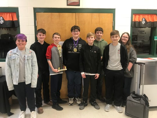 Norfork Junior High Quiz Bowl placed first in regionals at Calico Rock on Jan. 17. They will go on to compete at the state competition in Morrilton on Feb. 8. Billy Branscum from Norfork was named Regional MVP. The team is coached by Stacy Havner and Pam Braun. Team members pictured above are (from left) Reed Davis, Preston Seay, Jesse Maple, Billy Branscum, Lincoln Havner, Jimmy Foster, Harley Lawhorn, and Emily Woods.