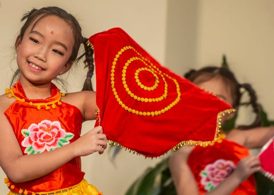 Emily Wang, 8, dances with the CAAC children. The Central Alabama Association for Chinese celebrated the Year of the Rat for Chinese New Year on Saturday, Jan. 25, 2020, at Frazer United Methodist Church in Montgomery.